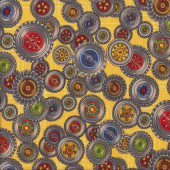 Wheels Yellow Diggers Quilting Fabric