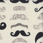 Moustaches on Cream Wheres My Stache Quilting Fabric