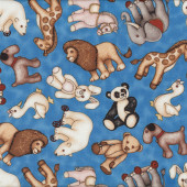 Teddy Bear Rabbit Horse Duck Elephant Toys on Blue Quilt Fabric