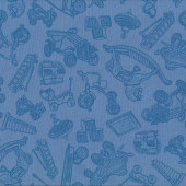 Retro Vintage Toys Rocking Horse Skates on Blue Quilt Fabric