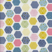 Colourful Hexagons Patterns on White Quilting Fabric
