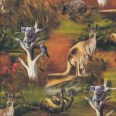 Australian Wildlife Valley Koala Emu Wombat Quilting Fabric