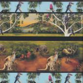 Australian Animals Kangaroo Emu Koala Wildlife Valley Border Quilting Fabric