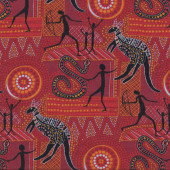 Snakes Kangaroo Australian on Red Quilting Fabric