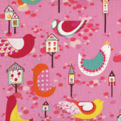 Willow Wren Birds Birdhouses on Pink Quilting Fabric