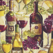 Wine Bottles Glasses Purple Green Grapes Quilting Fabric