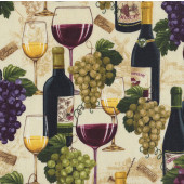 Wine Bottles Glasses Purple Green Grapes on Beige Quilting Fabric