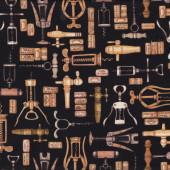 Wine Corks Corkscrews on Black Quilting Fabric