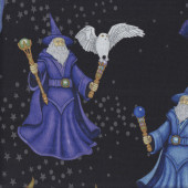Wizards with Wands on Black Owls Stars Quilting Fabric