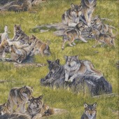 Wolves on Grass Wolf Pups Wild Animal Quilting Fabric