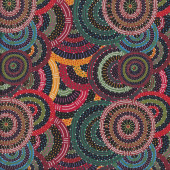 Australian Indigenous Aboriginal Body Dreaming Black by C. Wallace Quilt Fabric