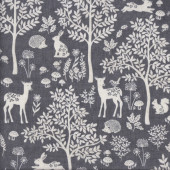 Woodland Forest on Grey Deer Birds Trees Leaves Quilting Fabric