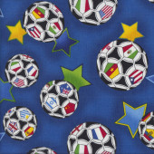 World Soccer Balls on Blue Quilting Fabric