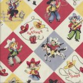 Retro Cowboys Cowgirls Quilting Fabric