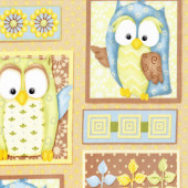 Cute Owls Blue Green You Whoo Trees Kids Mushrooms Quilt Fabric