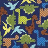 Dinosaurs on Navy Boys Kids Urban Zoologie Ann Kelle Quilt Fabric