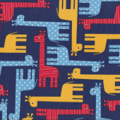 Giraffes on Navy Urban Zoologie Ann Kelle Kids Boys Quilt Fabric