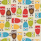 Owls Urban Zoologie Bird Ann Kelle Brown Orange Quilt Fabric