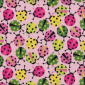 Ladybirds Ladybugs on Pink Urban Zoologie Ann Kelle Quilt Fabric