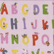 Alphabet on Pink Kinder Kids Quilting Fabric