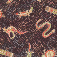 Australian Aboriginal Gooloo on Black Quilt Fabric