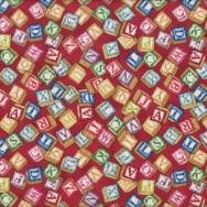 Alphabet Blocks on Red Boys Girls Toys Quilt Fabric