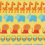 Animals on Yellow Elephants Turtles ABC Safari Kids Quilt Fabric