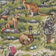 Australian Animals Koala Kangaroo Wombat Emu Dingo Parrot Quilt Fabric