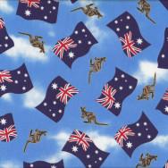 Australian Flags Kangaroos on Blue Aussie Quilting Fabric