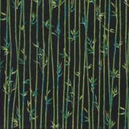 Bamboo Black Landscape Quilting Fabric