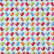 Cute Colourful Birds Quilting Fabric