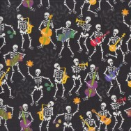 Skeletons Playing Guitars on Black Quilting Fabric