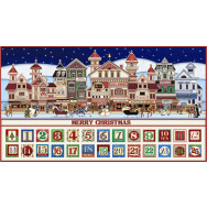 Christmas Advent Santa Claus Coming To Town Quilt Fabric Panel