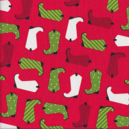Christmas Boots on Red Quilting Fabric