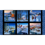 Christmas Snow Landscape Scenery Snowflakes Quilting Fabric Panel