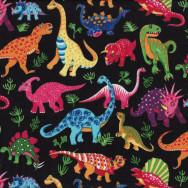 Dinosaurs On Black Kids Boys Childrens Animals Quilt Fabric