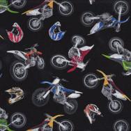 Dirt Bikes Helmets on Black Boys Kids Sport Adventure Quilt Fabric
