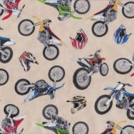 Dirt Bikes Helmets on Cream Boys Kids Sport Adventure Quilt Fabric