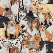Dogs Border Collie Terrier Greyhound Bulldog Quilting Fabric