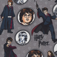 Harry Potter on Grey Hermione Ron Weasley Kids Licensed Quilting Fabric