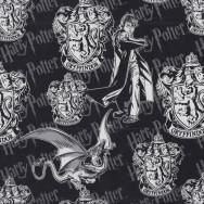 Harry Potter on Black Gryffindor Badge Crest Kids Licensed Quilting Fabric
