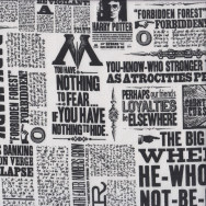 Harry Potter Black and White Newspaper Print Licensed Quilting Fabric