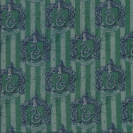 Harry Potter Slytherin Badges on Green Stripe Digitally Printed Licensed Fabric
