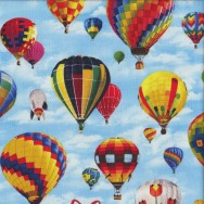 Colourful Hot Air Balloons on Blue Sky Kids Boys Girls Quilting Fabric