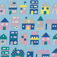 Green Pink Blue Homes Houses on Light Blue Fabric