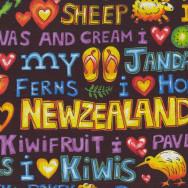I Love New Zealand Jandals Sheep Kiwi Words NZ Quilting Fabric