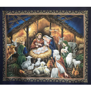 Jesus Mary Bethlehem Nativity Christmas Barn Stable Quilting Fabric Panel