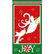 Reindeer Christmas Joy Snowflakes Quilting Fabric Panel