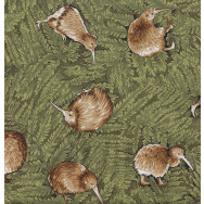 New Zealand Kiwi Birds Ferns Flora Wildlife NZ Quilt Fabric