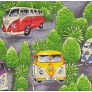 Kombi Vans Trees Volkswagen VW Combi Car Quilt Fabric